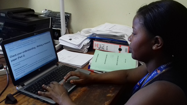Molly Mombeshora from University of Zimbabwe, taking one of the online lessons.
