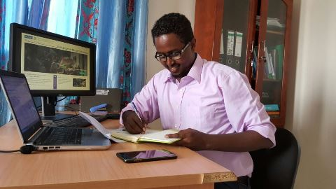 Saed Hussain from Somalia doing the online course.